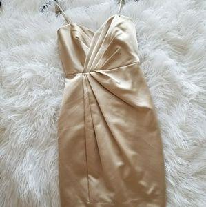 David's Bridal size 2 gold formal dress zips